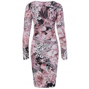 Long Sleeve Fulled Flowers Print Dress - NUDE PINK 2XL
