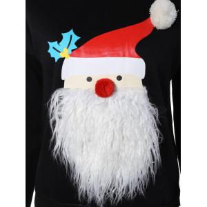 Christmas Santa Graphic Pompon Embellished Sweatshirt -