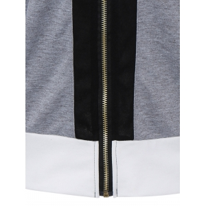 Color Block Zipper Up Hoodie With Pocket - GRAY XL