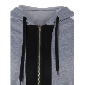 Color Block Zipper Up Hoodie With Pocket -