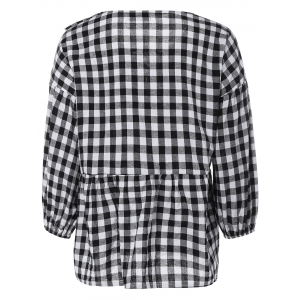 Puff Sleeve Lace-Up Plaid Blouse - PLAID 5XL