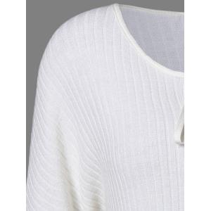 Puff Sleeve Knitted Insert Blouse - WHITE 5XL