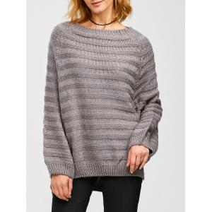 Dolman Sleeve Side Slit Loose Sweater - Gray - One Size