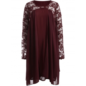 Plus Size Long Sleeve Lace Insert Shift Dress