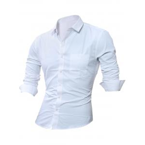 Long Sleeve Chest Pocket Plain Shirt - White - M