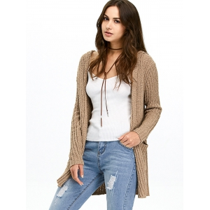 Hooded Ribbed Long Cardigan - Brown - Xl