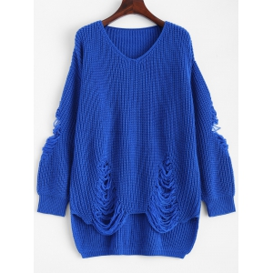 Pullover Ripped V Neck Sweater - Blue - M