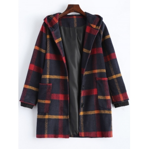 Hooded Plaid Overcoat - Purplish Blue - S