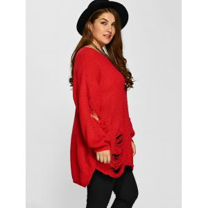Distressed Plus Size Sweater - RED 5XL