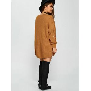 Distressed Plus Size Sweater - EARTHY 4XL