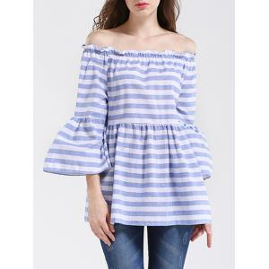 Off The Shoulder Bell Sleeve Striped Blouse