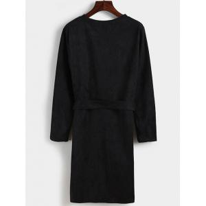 Faux Suede Belted Long Sleeve Dress -