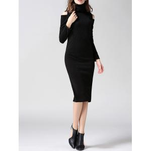 Knit Cold Shoulder Turtleneck Midi Dress