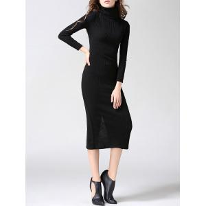 Ribbed Turtleneck Bodycon Midi Knit Dress