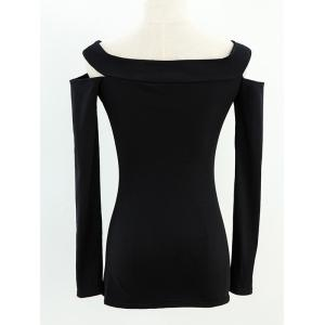 Long Sleeve Fitted Off The Shoulder T-Shirt -