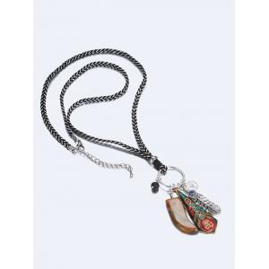 Faus Gemstone Braid Rope Sweater Chain - SILVER/RED