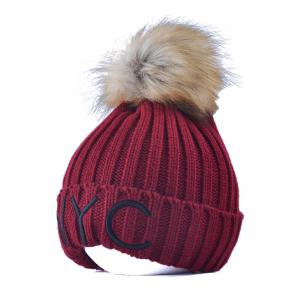 NYC Embroider Knit Pom Ball Skullies Beanie - Wine Red