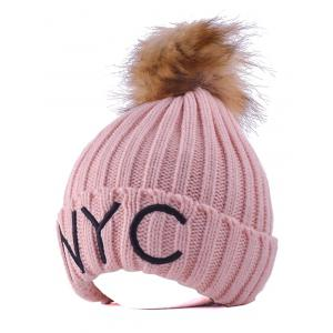NYC Embroider Knit Pom Ball Skullies Beanie - Pink