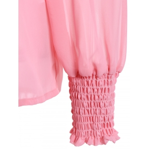 Puffed Sleeve Off The Shoulder Top - PINK XL