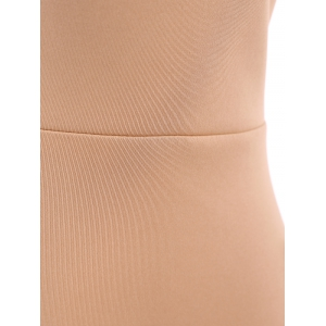 Sleeveless Tight Fit Plunge Low Cut Bodysuit - APRICOT M