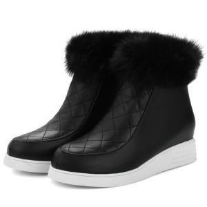 Side Back Fuzzy Ankle Boots -