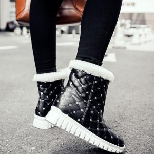 Sequined Faux Fur Snow Boots - BLACK 39