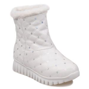Sequined Faux Fur Snow Boots - White - 37