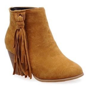 Tassels Suede Ankle Boots - Yellow - 38