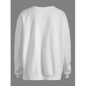Drop Shoulder Embroidered Sweatshirt - WHITE ONE SIZE