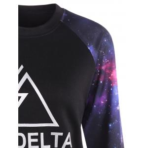 Letter Galaxy Print Pullover Sweatshirt -