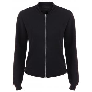Zip Up Number Print Jacket - Black - Xl