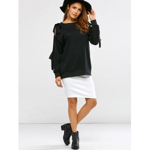 Bowknot Cold Shoulder Slash Neck Sweatshirt -