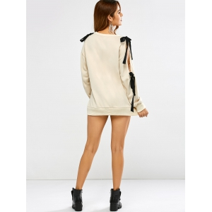 Bowknot épaule froide Slash Neck Sweatshirt -