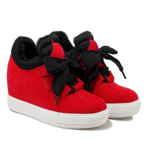 High Top Hidden Wedge Suede Sneakers - RED 37