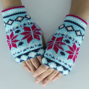 Christmas Snow Knitted Fingerless Gloves - Cloudy