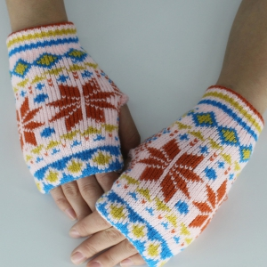 Christmas Snow Knitted Fingerless Gloves - Brown - One Size