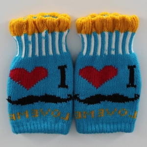 Beard Love Knitted Fingerless Gloves - BLUE