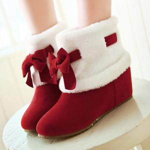 Hidden Wedge Bowknot Short Boots - RED 39