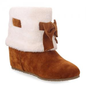 Hidden Wedge Bowknot Short Boots