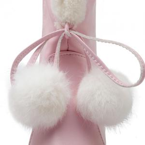 Pompon Cone Heel PU Leather Mid Calf Boots - PINK 39