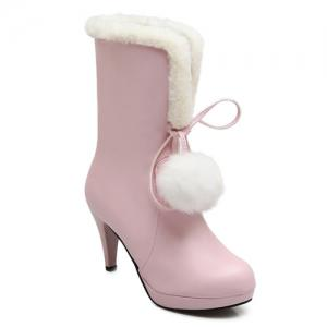 Pompon Cone Heel PU Leather Mid Calf Boots - Pink - 38