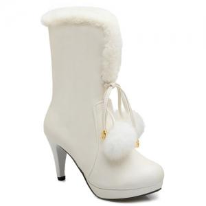 Pompon Cone Heel PU Leather Mid Calf Boots - White - 38