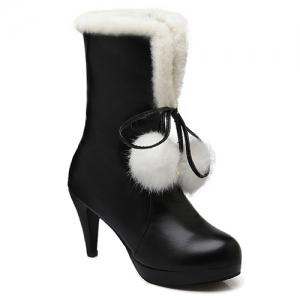 Pompon Cone Heel PU Leather Mid Calf Boots