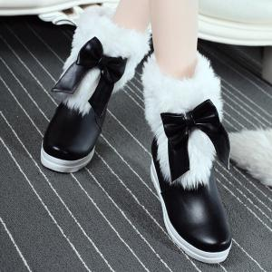 PU Leather Bowknot Fuzzy Platform Boots -