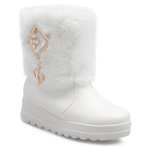 PU Leather Metal Fuzzy Platform Boots - White - 38