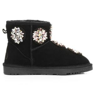 Colored Rhinestone Suede Snow Boots -