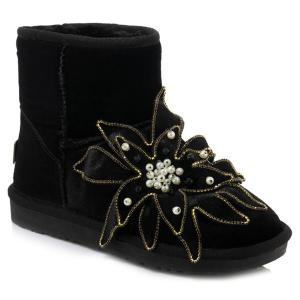 Beading Flower Ankle Snow Boots