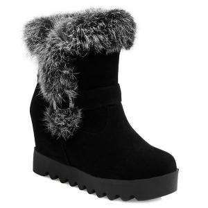 Furry Buckle Strap Hidden Wedge Boots - Black - 39