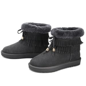 Fuzzy Fringe Ankle Snow Boots -