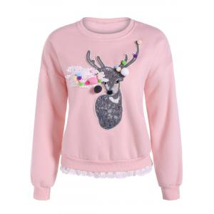 Deer Applique Lacework Insert Flocking Sweatshirt - Pink - S
